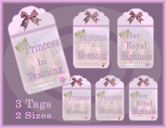 Princess Gift/Hang Tags Digital Collage Sheet
