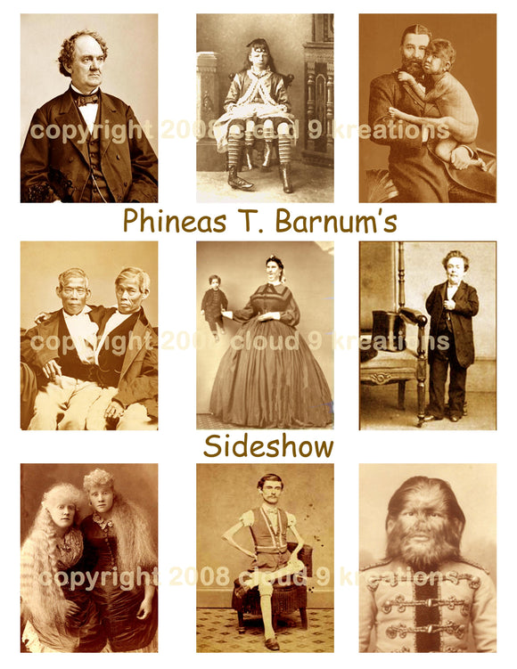 Phineas PT Barnum Sideshow Digital Collage Shees