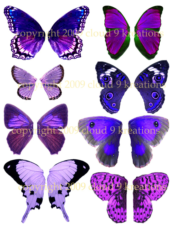 Purple Butterfly Wings Digital Collage Sheet