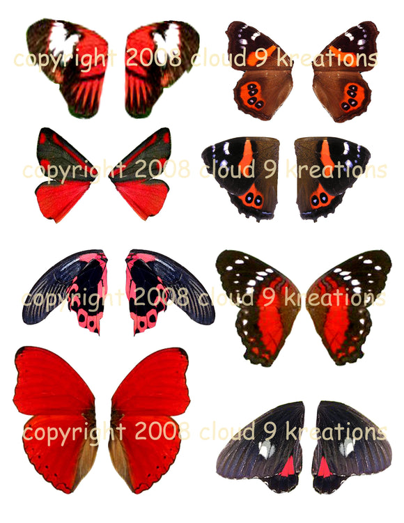 Red & Black Butterfly Wings Digital Collage Sheet