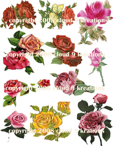 Roses Digital Collage Sheet