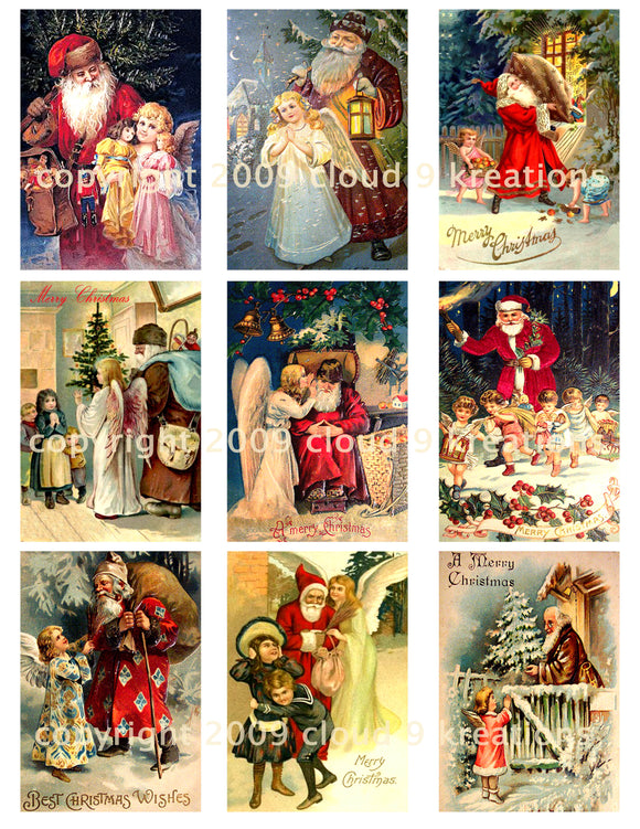 Angels & Santa Digital Collage Sheets