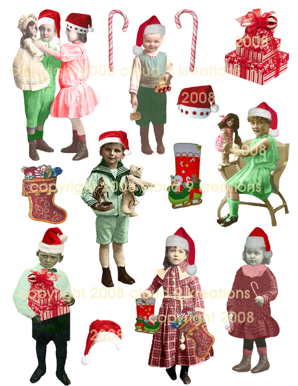 Santa's Elves . . . Vintage Children . . . Digital Collage Sheet