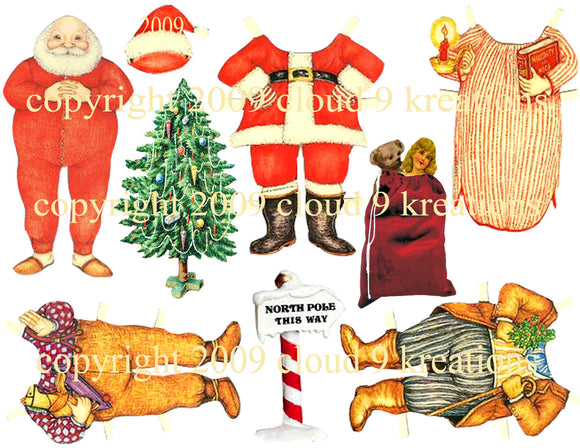 Santa Paper Doll Digital Collage Sheet