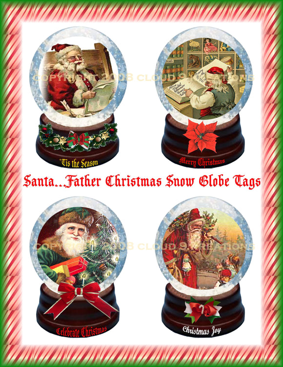 Santa Snow Globes Digital Collage Sheet