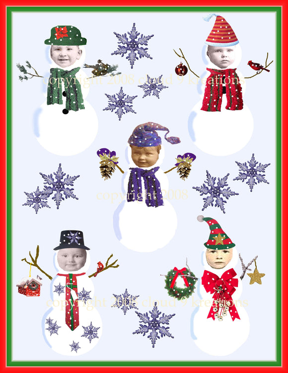 Snow Babies Digital Collage Sheet