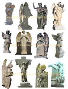Stone Angels - Cemetery Angels Digital Collage Sheet