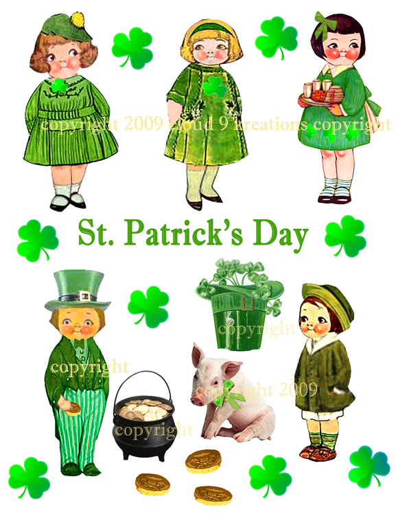 St. Patrick's Day Dolly Dingle Digital Collage Sheet
