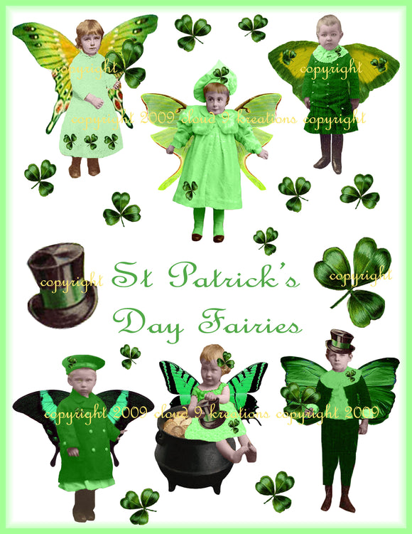 St. Patrick's Day Fairies Digital Collage Sheet