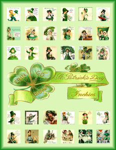 "1""x1"" St. Patrick's Day Squares Digital Collage Sheet"