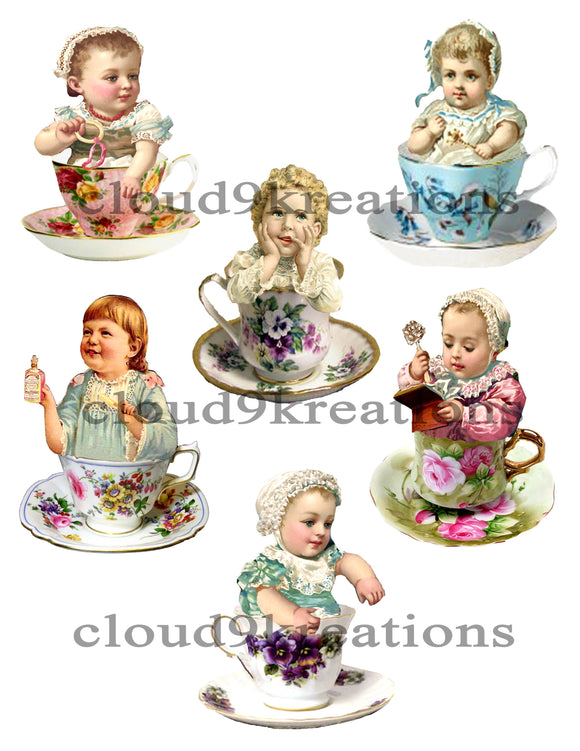 Teacup Babies Digital Collage Sheet