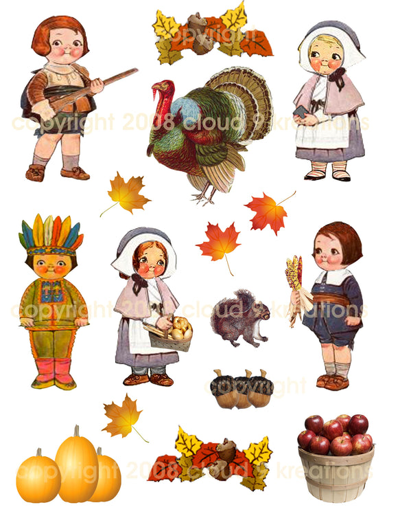 Thanksgiving Dolly Dingle Digital Collage Sheet