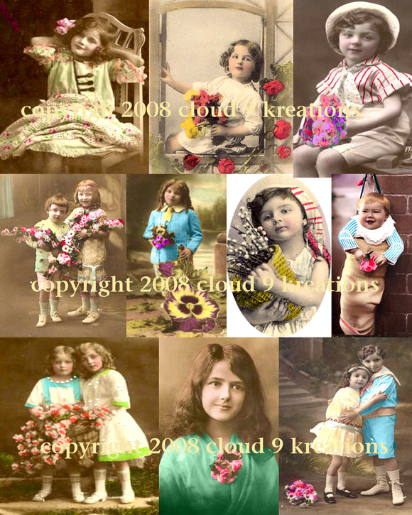 Victorian Children  . . . Tinted Photos . . . Digital Collage Sheet