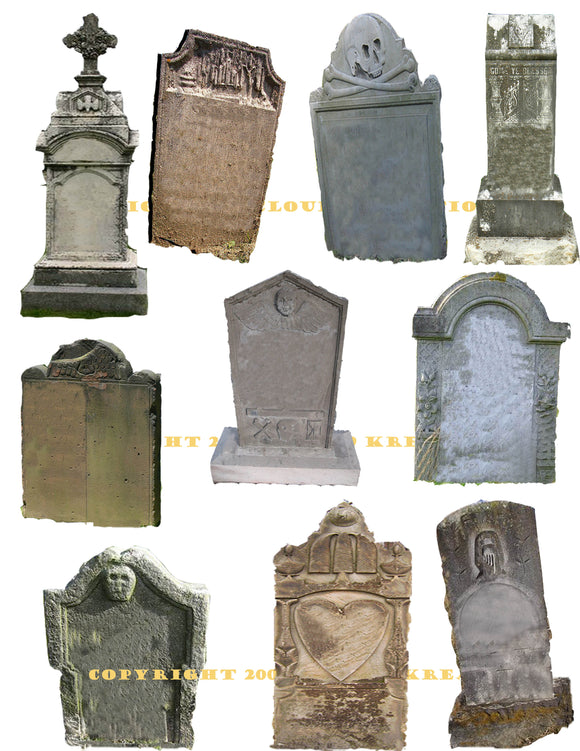 Tombstones Digital Collage Sheet