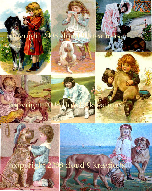 Victorian Children & Dogs Digital Collage Sheet