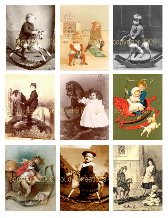 Victorian Children & Horses Digital Collage Sheet
