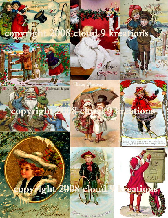 Victorian Children's Christmas Digital Collage Sheet