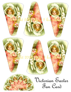 Victorian Easter Fan Card Digital Collage Sheet 1
