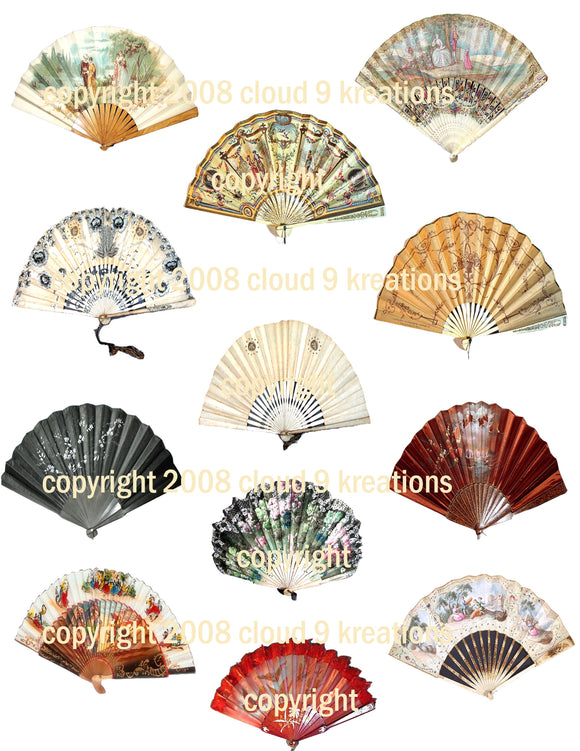 Victorian Women's Fans Digital Collage Sheet