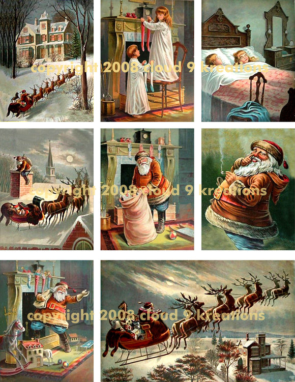 Victorian Night Before Christmas Digital Collage Sheet