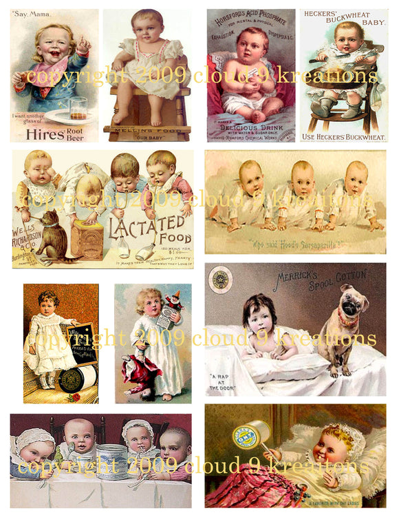 Victorian Babies Trade Cards Digital Collage Sheet
