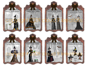 Victorian Witch Fashion Gift/Hang Tags Digital Collage Sheet