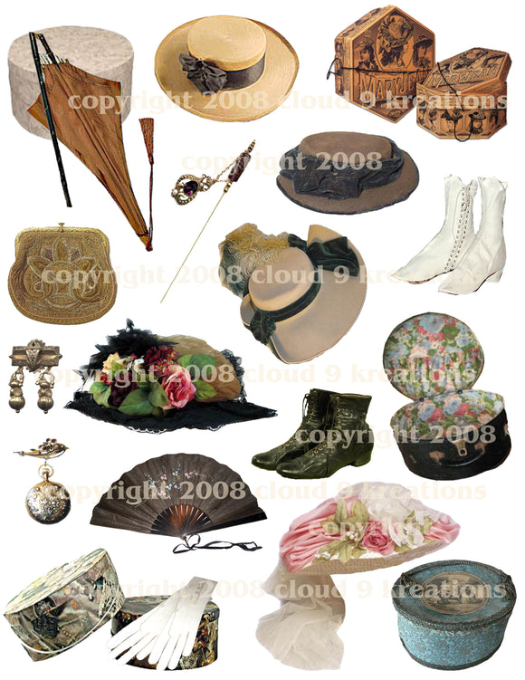 Victorian Women's Hats & Accessories Digital Collage Sheet