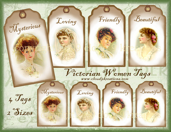 Victorian Women Tags Digital Collage Sheet