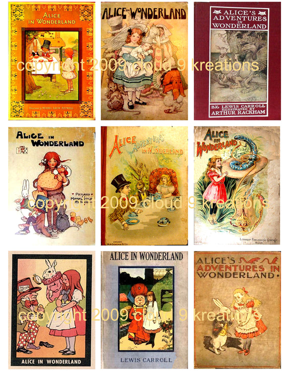 Alice In Wonderland Book Covers Digital Collage Sheet