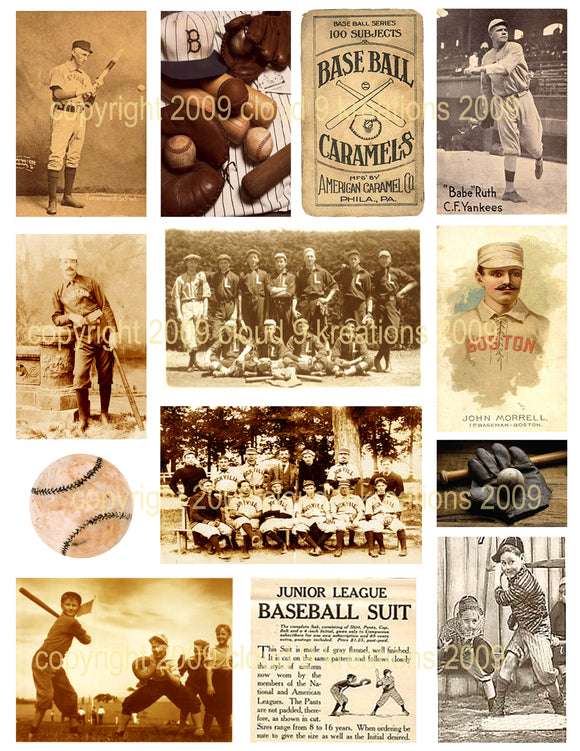 Vintage Baseball Digital Collage Sheet 1