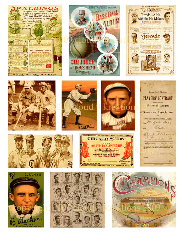 Vintage Baseball Digital Collage Sheet 2