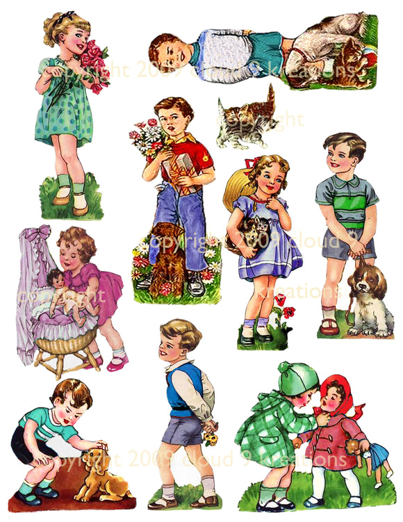 Vintage Children Digital Collage Sheet 2