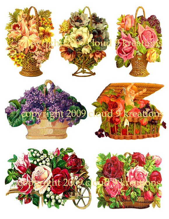 Vintage Floral Arrangements Digital Collage Sheet