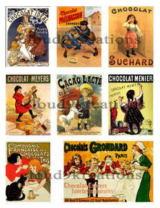 Vintage French Chocolate Ads Digital Collage Sheet