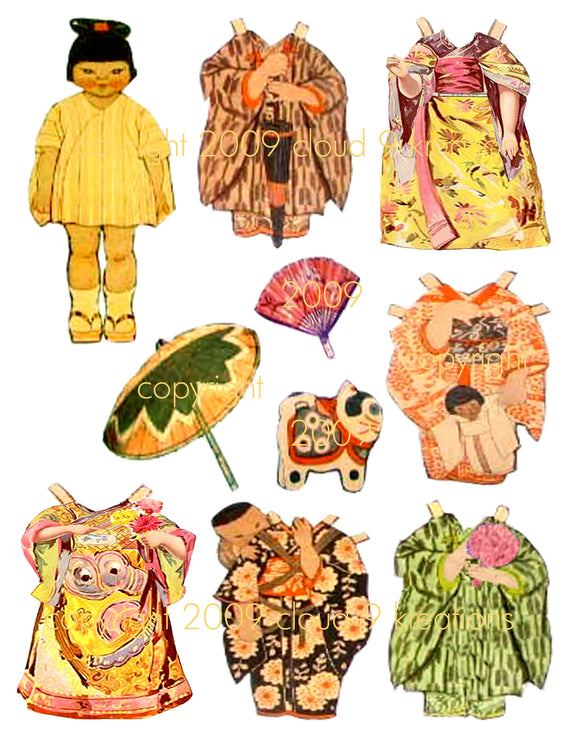 Rare 1919 Japanese Paper Doll Digital Collage Sheet
