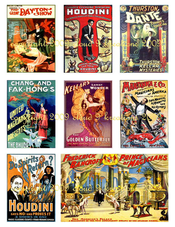 Vintage Magic Posters Digital Collage Sheet 2