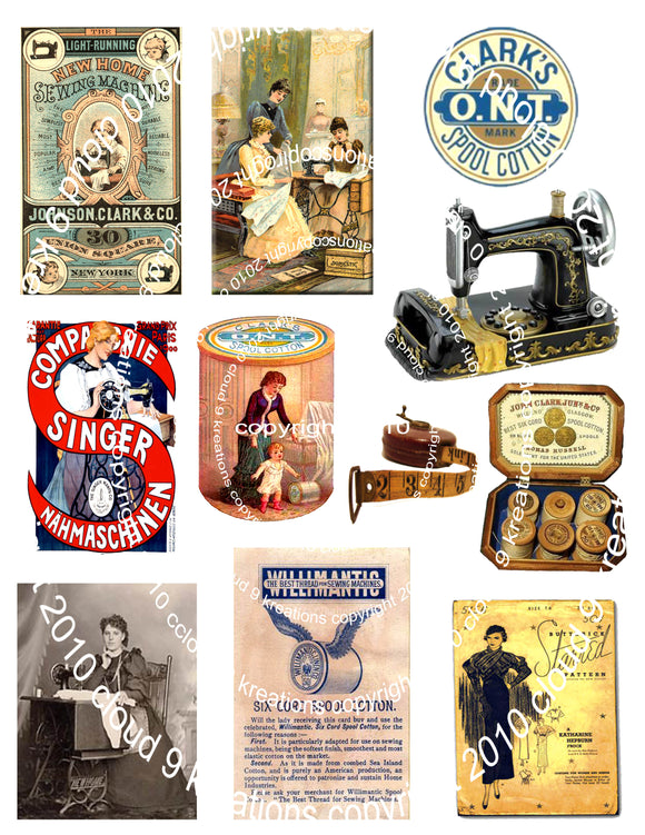 Vintage Sewing Digital Collage Sheet 2