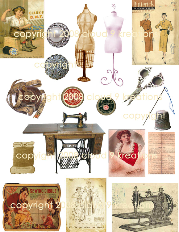 Vintage Sewing Digital Collage Sheet 1