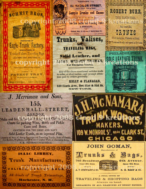 Vintage Steamer Trunk Ads Digital Collage Sheet