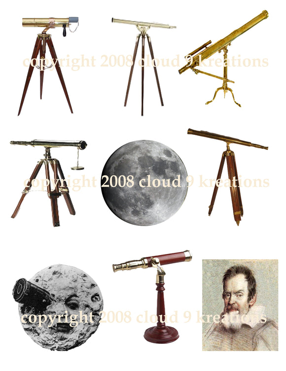 Vintage Telescopes Digital Collage Sheet