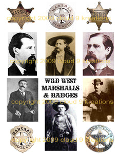 Old West Marshals Digital Collage Sheet