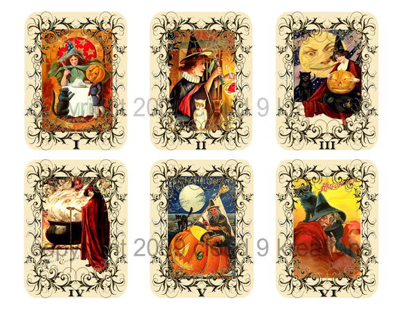 Halloween Witch Cards Digital Collage Sheet (2 Sheets)