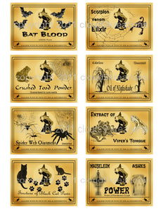 Halloween  . .  Witch Snake Oil Labels Digital Collage Sheet
