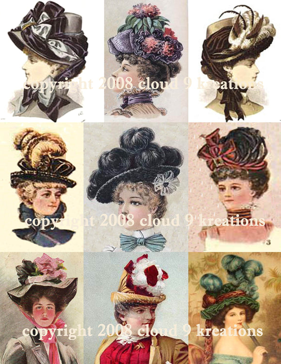 Victorian Women's Hats Digital Collage Sheet 2