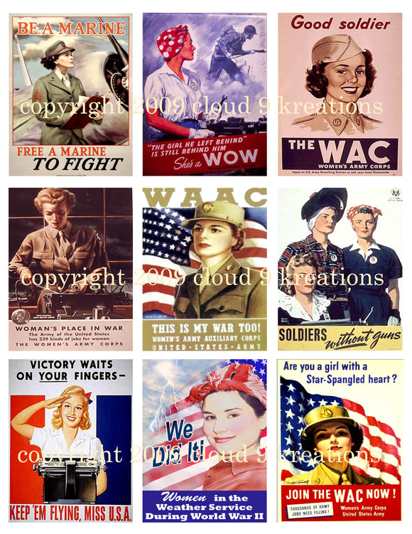 World War II Women Digital Collage Sheet