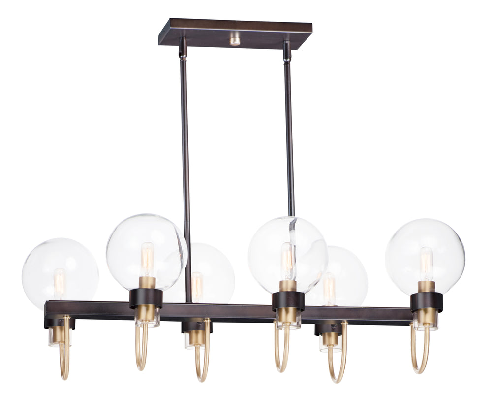Maxim Lighting Bauhaus 6-Light Linear Chandelier 30519CLBZSBR
