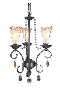 3-Light Mahogany Bronze Liebestraum Mini Chandelier F-9723 MB by Framburg