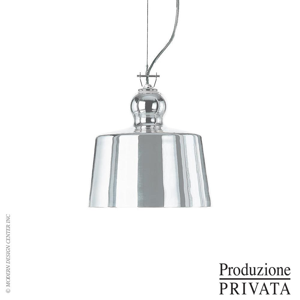 Acquatinta Silver Mirror Pendant Light of Produzione Privata
