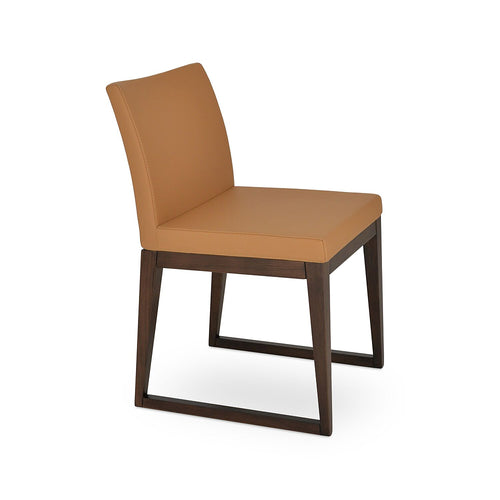 Aria Sled Wood Chair Leather by SohoConcept