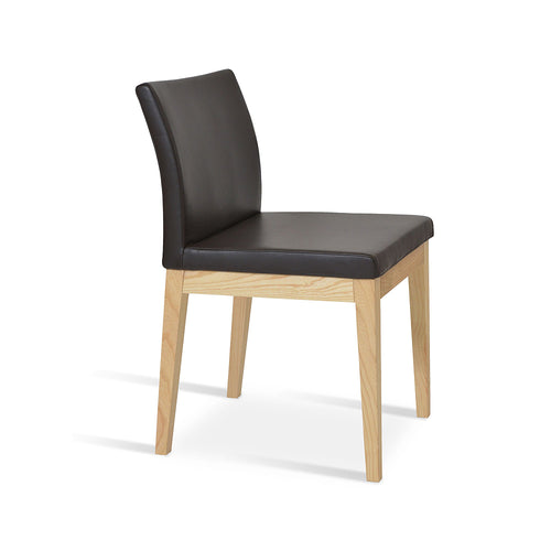 Aria Wood Dining Chair Leather by SohoConcept